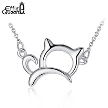 Effie Queen New Arrival Cute & Lucky Cat Necklaces and Pendants Perfect Polished Women Necklace Jewelry Gift PN05(China)