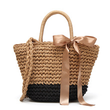 Women New Straw Tote Bag Ribbons Decoration Hand Woven Handbags Summer Beach Female High Quality Tassel Rattan Bag