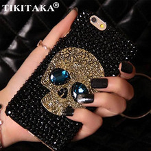 Diamond Bling Rhinestone Skull With Blue Eye Cover Fashion Phone Cases For iPhone 5 5s 6 6S 7 8 Plus Samsung S8 S7 S6 Edge Case(China)