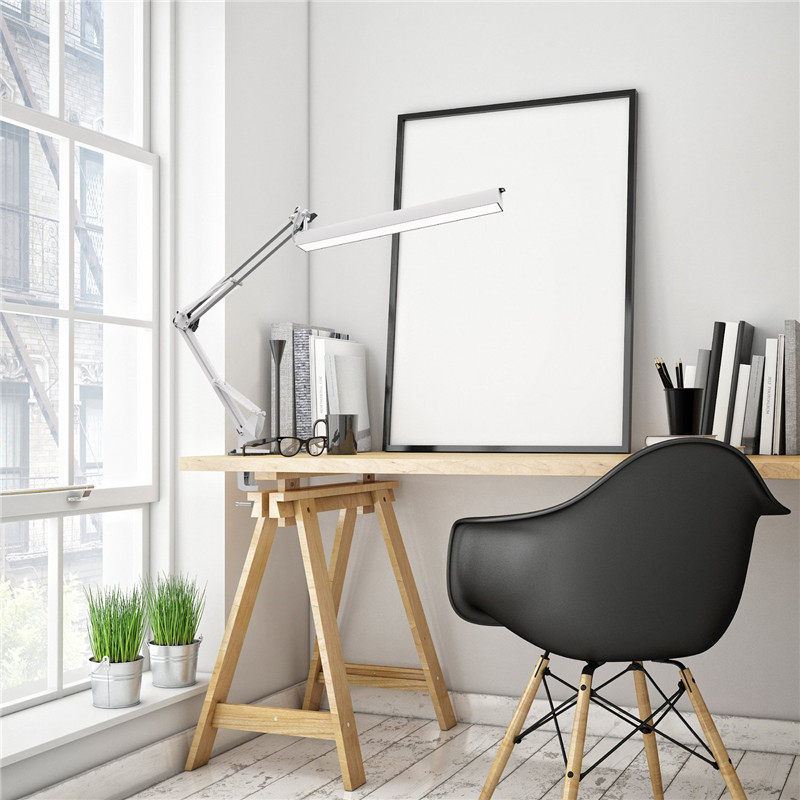 A16 USB Power LED Desk Lamp with Clip 3 Level Dimmer Drafting Table Light Swing Arm Architect Study Lamp Eye-caring White<br>