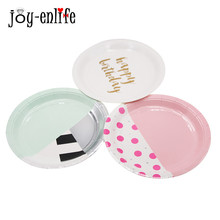 JOY-ENLIFE 8Pcs/Set Tableware Disposable Paper Plate Cake Food Popcorn Buffet Plates Wedding Decor Birthday Party Supplies(China)