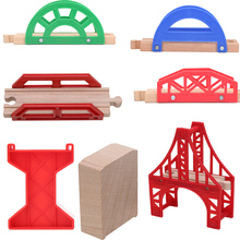 Cheap Good Wooden Bridge Piers Wooden Train Tracks Set Train Accessories Track Pieces Blocks Toys bloques de construccion(China)