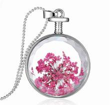60cm long perfume bottle pendant pink dry flower fashion necklace jewelry
