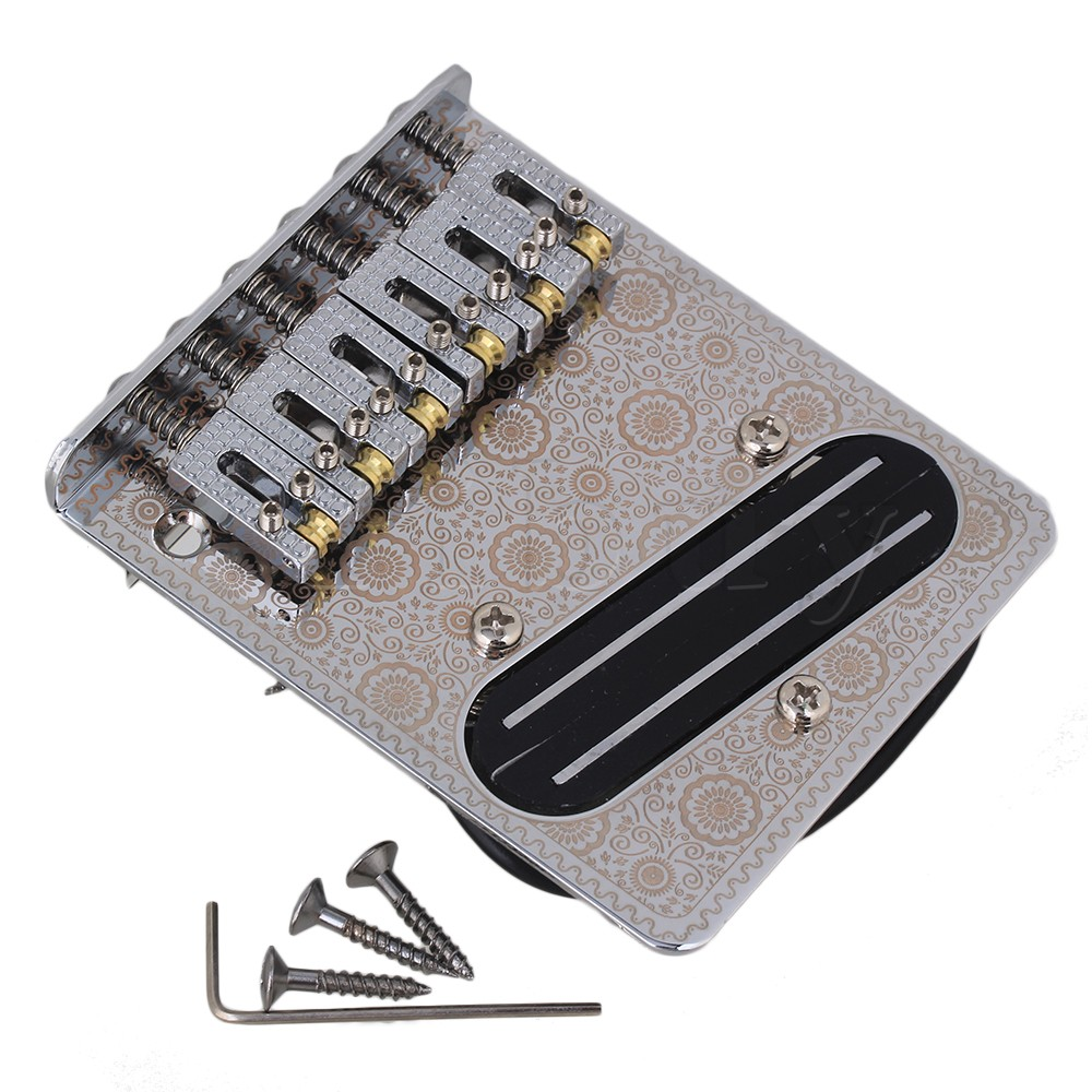 Yibuy 6 String Guitar Part Zinc Alloy Bridge+Pickup Set w/ Wrench &amp; Screws<br>