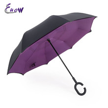 Folding Double Layer Colorful Inverted Chuva Umbrella Self Stand Inside Out Rain UV Protection C-Hook Hands Windproof(China)