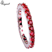 lingmei New Wedding Jewelry Round Red AAA CZ  Silver Ring For Women Size 6 7  8 9 10 11 12 13 Romantic Love Style Wholesale