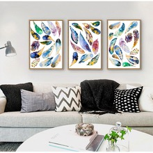 Nordic Decoration Flying Rainbow Colorful Feather in Number DIY Design Canvas Painting Wall Decar Magic Pictures For Dream House(China)