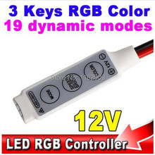 12V Mini 3 Keys RGB Color LED Controller Brightness Dimmer for led 3528 5050 strip light Free shipping(without DC Plug)(China)