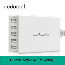 dodocool 5 Ports USB Cargador USB Charger Universal Quick Charger Fast Charger Adapter for iPhone iPad Android Tablet EU/US