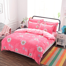 Pink princesses flower Crystal velvet Good quality bedding sets Warm in winter twin full queen king size duvet cover bed sheet