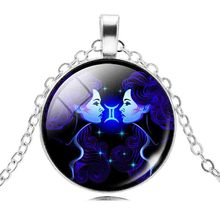 Gemini Of Constellations Astrology Statement Necklaces & Pendants Choker Necklace Women Silver Color Vintage Jewelry