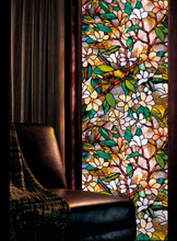 2017 New Static Cling Stained Glass Window Film Leaf Grape Magnolia Orchid Flower Cobblestone Privacy Textured 45x100cm(China)