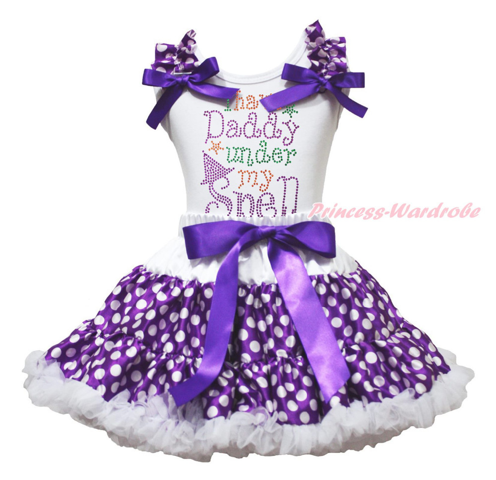 I have Daddy under my Spell White Top Purple White Dots Skirt Girls Outfit 1-8Y MAPSA0845<br>