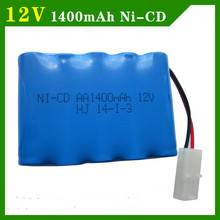 12v 1400mah battery ni-cd 12v aa nicd batteries battery pack ni cd rechargeable 10x aa for RC boat model car toys tank(China)