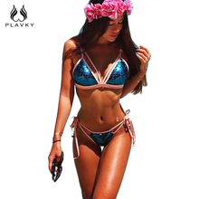 PLAVKY 2017 Sexy Blue Sequin Bling String Biquini Beachwear Halter Thong Swim Wear Swimsuit Bathing Suit Swimwear Women Bikini(China)
