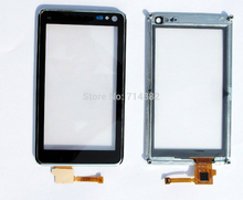 For NOKIA N8 Touch Screen Panel Digitizer Glass Lens Sensor with Silver Frame Bezel Housing Repair Parts Replacement