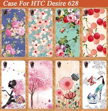 For HTC Desire 628 Case Cool Cover Beauty Flower Style Pink Tree Design Fresh Fruit Painted Stand cover case For HTC 628 Holder