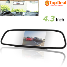 New Universal Car 4.3 Digital TFT LCD Mirror Car Parking Monitor Color Digital TFT-LCD Screen with 2 Video Input(China)