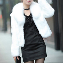 Winter Women faux fur basic coat poncho fourrure black white Gothic fur collar Jacket elegant Mink fox femme Plus Size xl 2xl