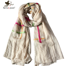 Simple Design Striped Cotton Scarves and Shawls for Women Fashion Japanese Ethnic Style Mori Girl Scarf and Wraps Long Foulard(China)