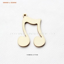 "(60pcs/lot) 39mm x50mm Blank Natural Musical Note Wood Necklace Cutout Crafts Rustic tags  2""-CT1130"