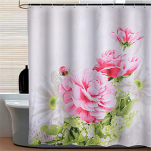 [180&200cm ] Modern waterproof shower curtains bathroom products 100% polyester flower peony bathroom shower curtain