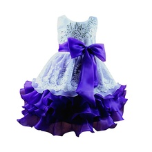 2017 New Fashion Kids Ceremonies Party Dresses  Tulle Ruffles Children's Princess Wedding Gown Little Baby Girl Dress 4 Colors