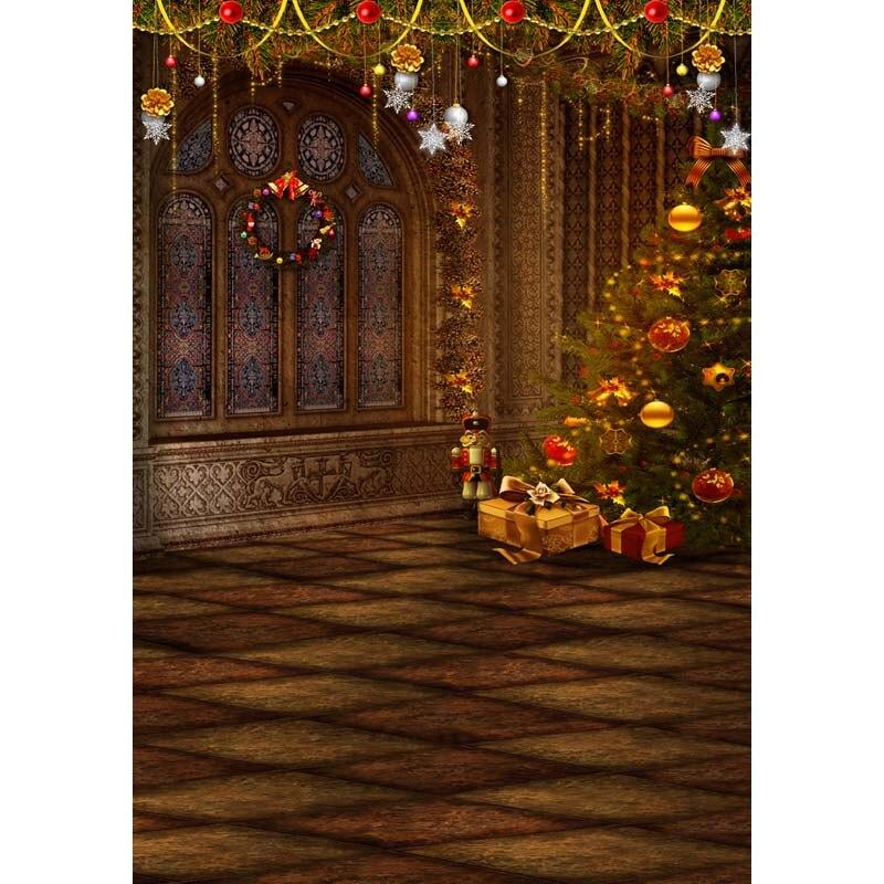 7X10ft   thin vinyl photography  Elk snow pine tree backgrounds  christmas backdrop for Photo studio CM-6358<br>