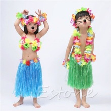 Kids Flower Hawaiian Grass Party Dress Hula Beach Dance DIY Costume 2-5Y  #T026#