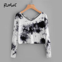 ROMWE Water Color T-shirt 2017 Black Casual Women Tie Dye Criss Cross Back Tops Fashion Spring Fall Sexy Long Sleeve New T-shirt(China)