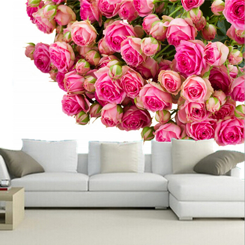 The custom 3D murals,3d roses Many Pink color Flowers wallpapers papel de parede,living room sofa TV wall bedroom wall paper<br>