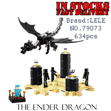 LELE My World Minecraft 79073 634pcs The Ender Dragon Building Blocks Bricks enlighten toys for children gifts brinquedos 21117(China)