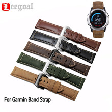 Leegoal Vintage Faux Leather Strap Watchband Genuine Wrist Watch 26MM Replacement For Garmin Fenix 3 Smart Watch Band Straps