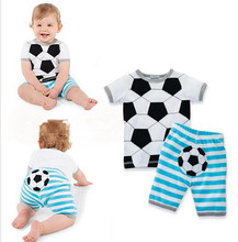 NEW 2017 Summer baby boy and girls Soccer Pattern clothing set baby short striped two pieces clothes two sets sprot suit newborn(China)