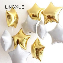 Buy 5pcs/lot 18inch Black White Star Foil Balloons Helium Metallic globos Wedding Invitation birthday party decoration supplies for $2.50 in AliExpress store