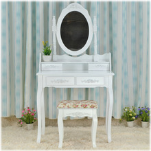 Queen Anne White Make Up Table Dresser Vanity Set Swivel Oval Mirror with Stool Bedroom Furniture(China)