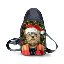 FORUDESIGNS Christmas Gift Pet Printing Chest Waist Pack Fashion Shoulder Bags for Men Boys Messenger Bag Canvas Cross Body Bags(China)