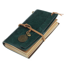 Retro Classic Vintage Leather Bound Blank Pages Journal Daily Diary Notebookcolor:green(China)