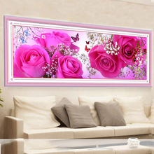 5D Diy Diamond Painting Cross Stitch Pink Roses Diamond Embroidery Rubik's Cube Diamond Drawing Diamond Mosaic size 89*28cm