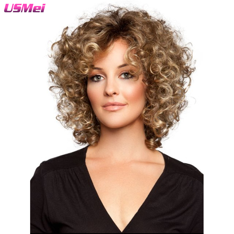 short blonde wig kinky cruly wig synthetic fashion perruque african american wigs for women natural cheap hair wig perucas<br><br>Aliexpress