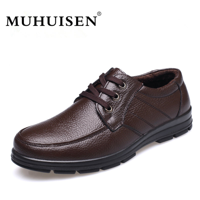 MUHUISEN 2017 Genuine Leather Men Shoes Classic Lace-Up Ankle Shoes Cowhide Male Winter Warm Plush Comfort Snow Flats <br>