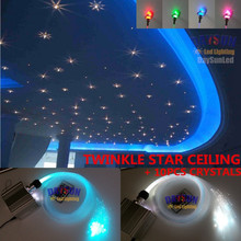 2017 NEW RGBW LED Twinkle Star Ceiling Light Kit with RF Remote Control + 150pcs 0.75mm + 20pcs 1mm Fiber + 10pcs Crystals