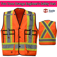 Jiade High Visibility ANSI Class 2 Two-Tone Heavy Duty Engineer Safety Vest stripes work vest(China)