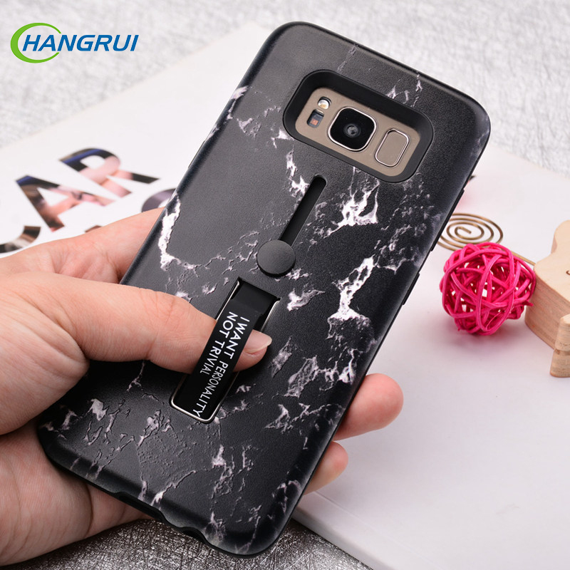 Fashion Marble Silicone Hide Stand Holder Cases For Samsung Galaxy A7 A6 A8 J4 J6 J8 Plus 2018 S7 Edge S8 S9 Plus Note 8 9 Case