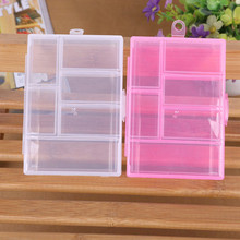 Storage Case Box Holder Container Pills Jewelry Nail Art Tips 6 Grids Makeup organizer jewelry box Clear plastic box(China)