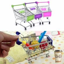 1PC Recent Supermarket Shopping Mini Trolley Phone Holder Office Desk Storage Toy Cart Baby Toy Handcart Accessories