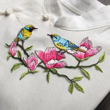 1pcs flower bird logo diy decorative accessories iron patch fabric clothes embroidered applique patches for clothing