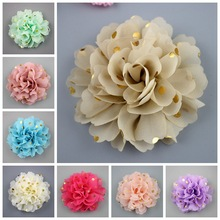 4inch  Polka dot chiffon flower with rhinestone fabric flowers for headbands 24colors flat back 30pcs/lot gold dots baby flowers