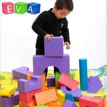 48pcs Good quality soft eva building blocks toy for baby & kids 0-6 years old early learning of the geometric shapes foam cube(China)