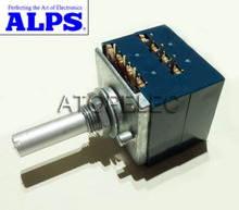 1pc Japan ALPS RK27 10KAX2 Volume LOG Stereo Potentiometer 2-gang Dual 10K Slotted Shaft